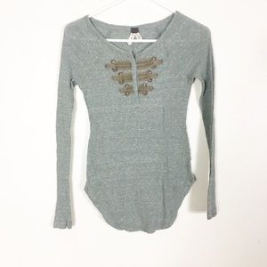 We The Free Free People Green Thermal Long Sleeve